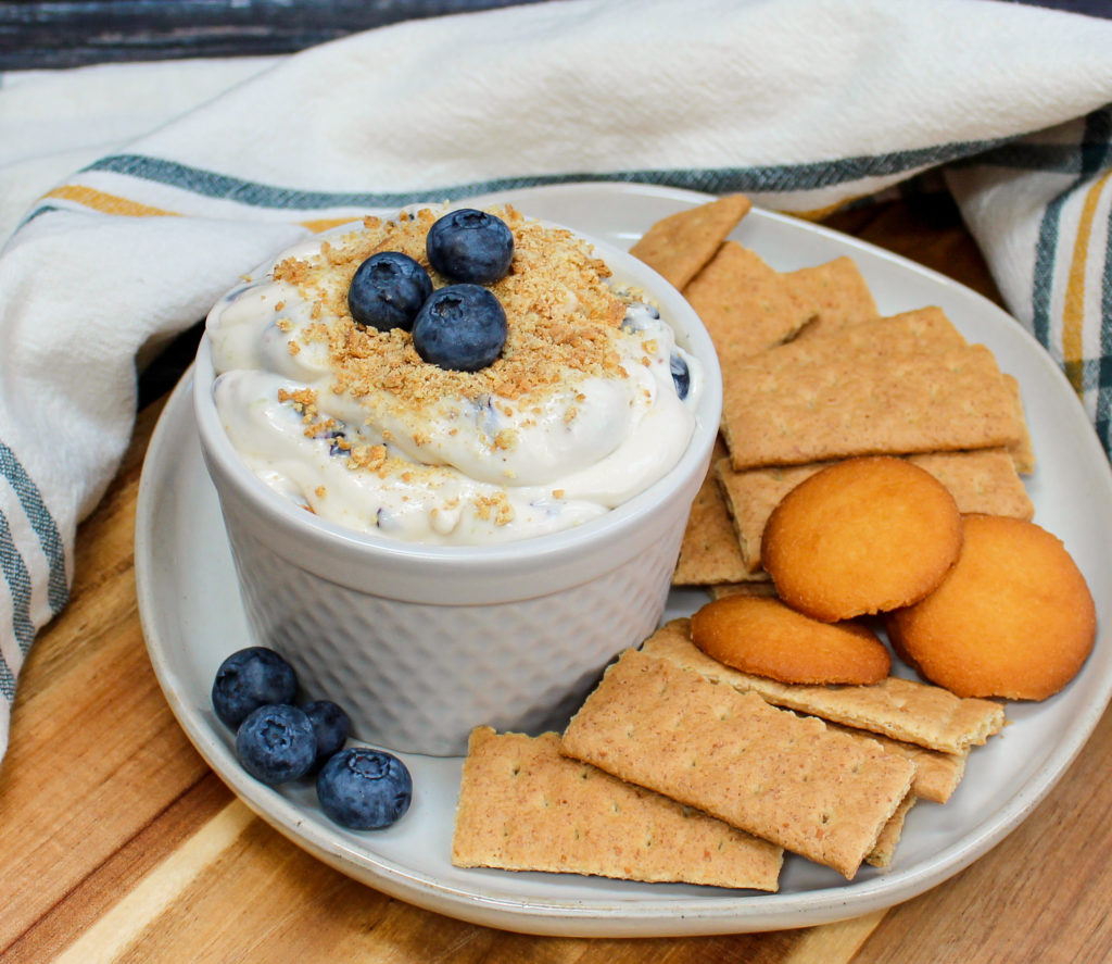 cheesecake dip in a white bowl