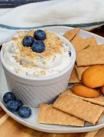 cheesecake dip in a white bowl