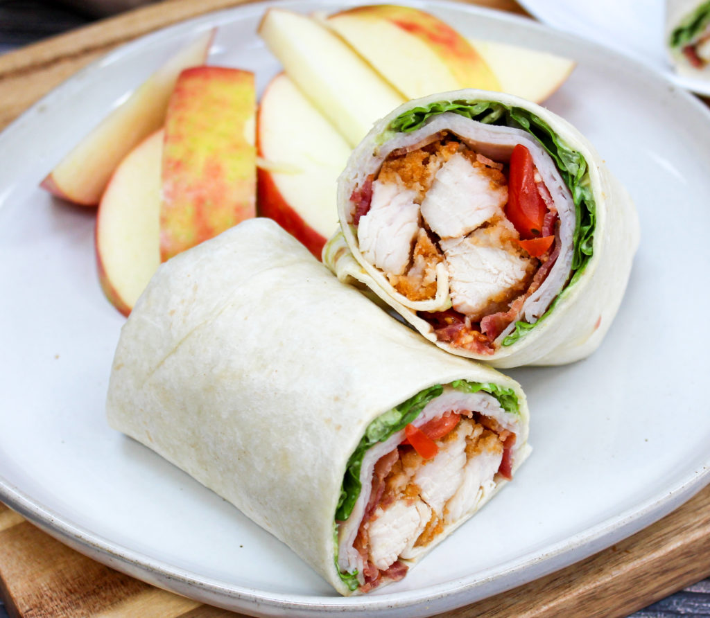 crispy chicken wrap on a plate