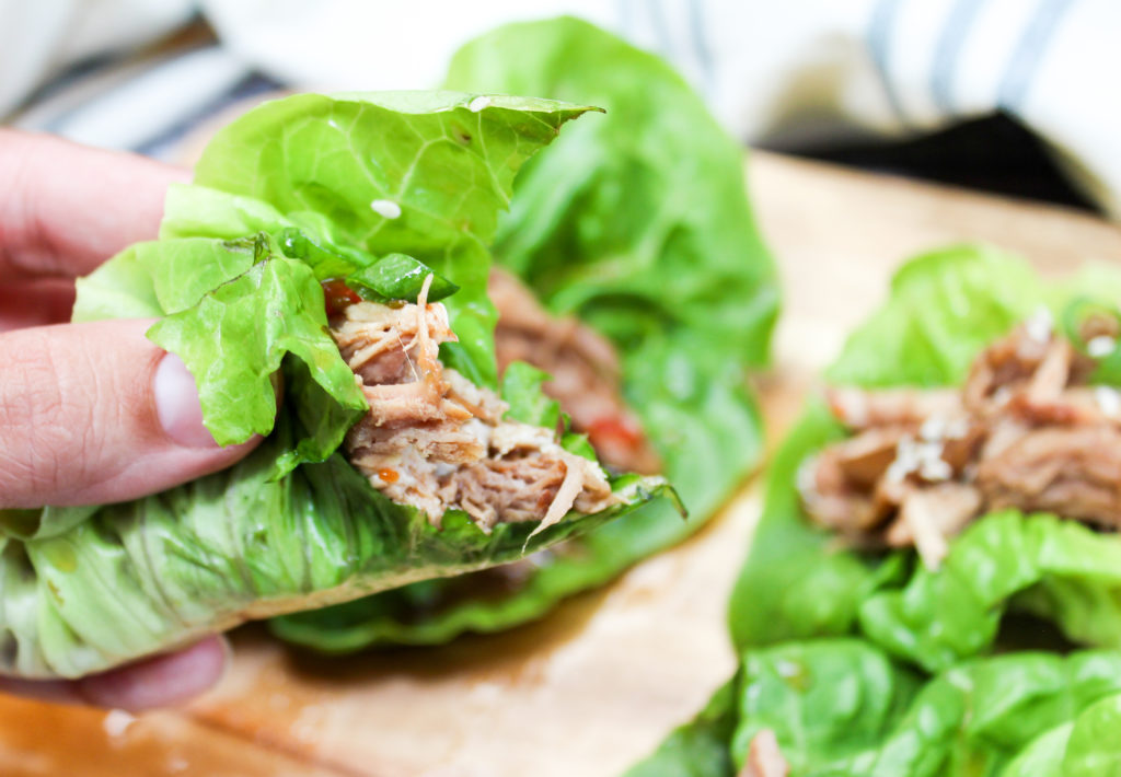 pork in a lettuce wrap