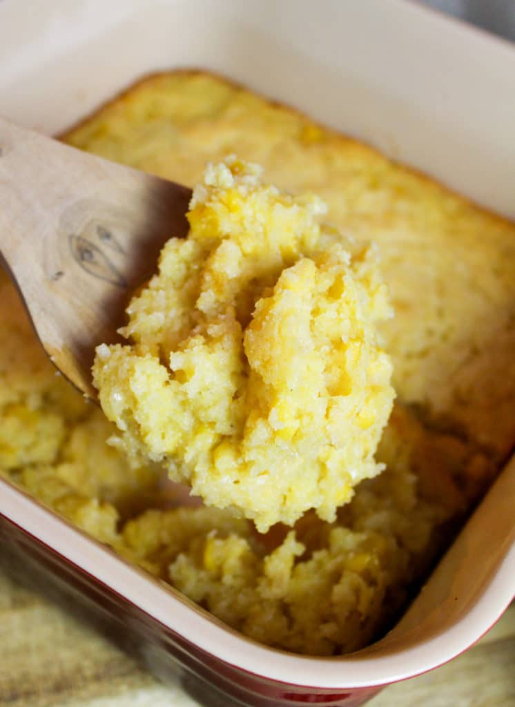 corn casserole scooped from a dish