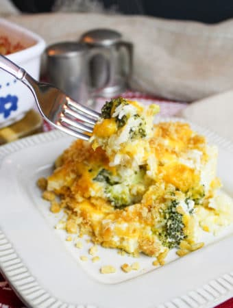 casserole on a plate with a fork