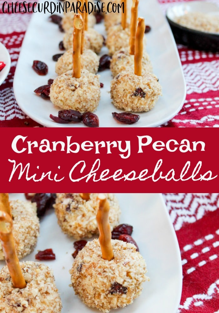 Cranberry Pecan Mini Cheeseballs on a plate