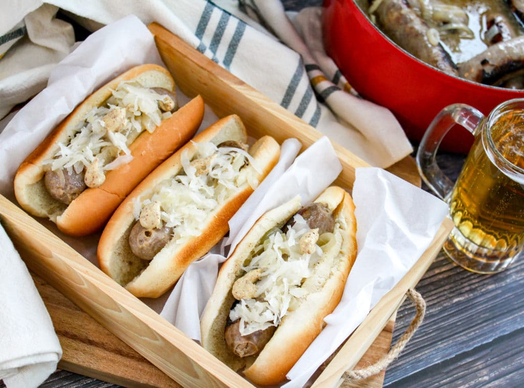 brats in a basket in buns