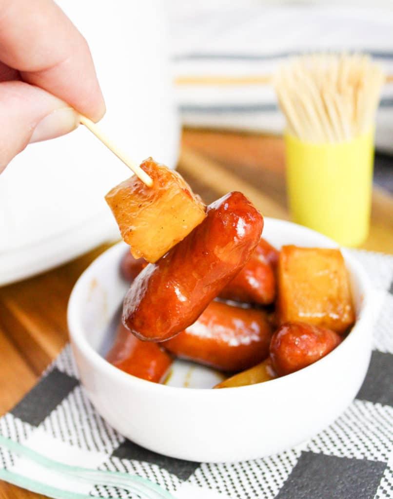 smoked sausage on a toothpick