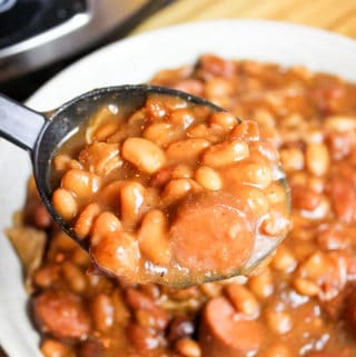 beans scooped from a bowl
