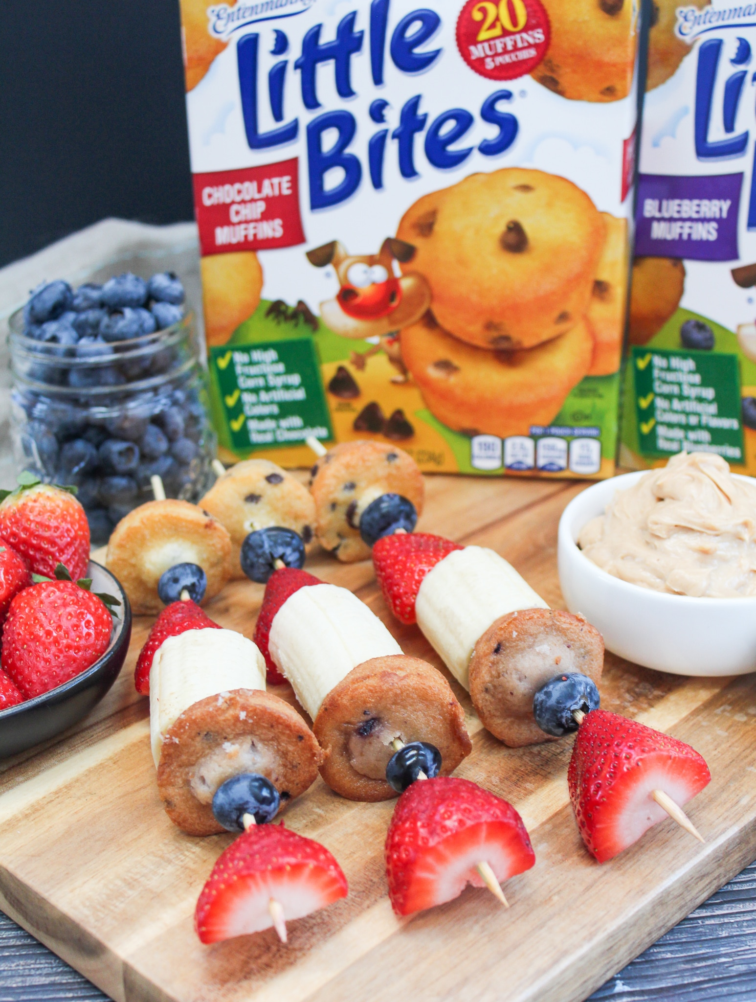 muffins and fruit on a skewer