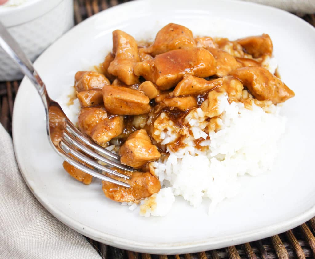 bourbon chicken on a fork