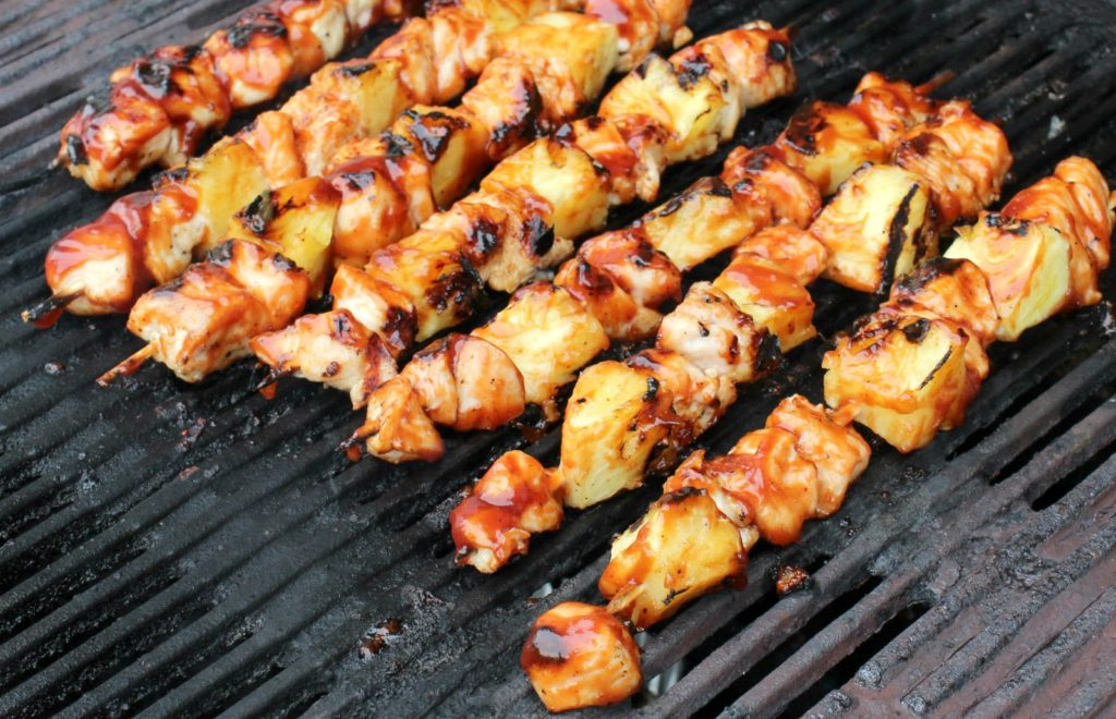 Grilled BBQ Chicken and Pineapple Kabobs