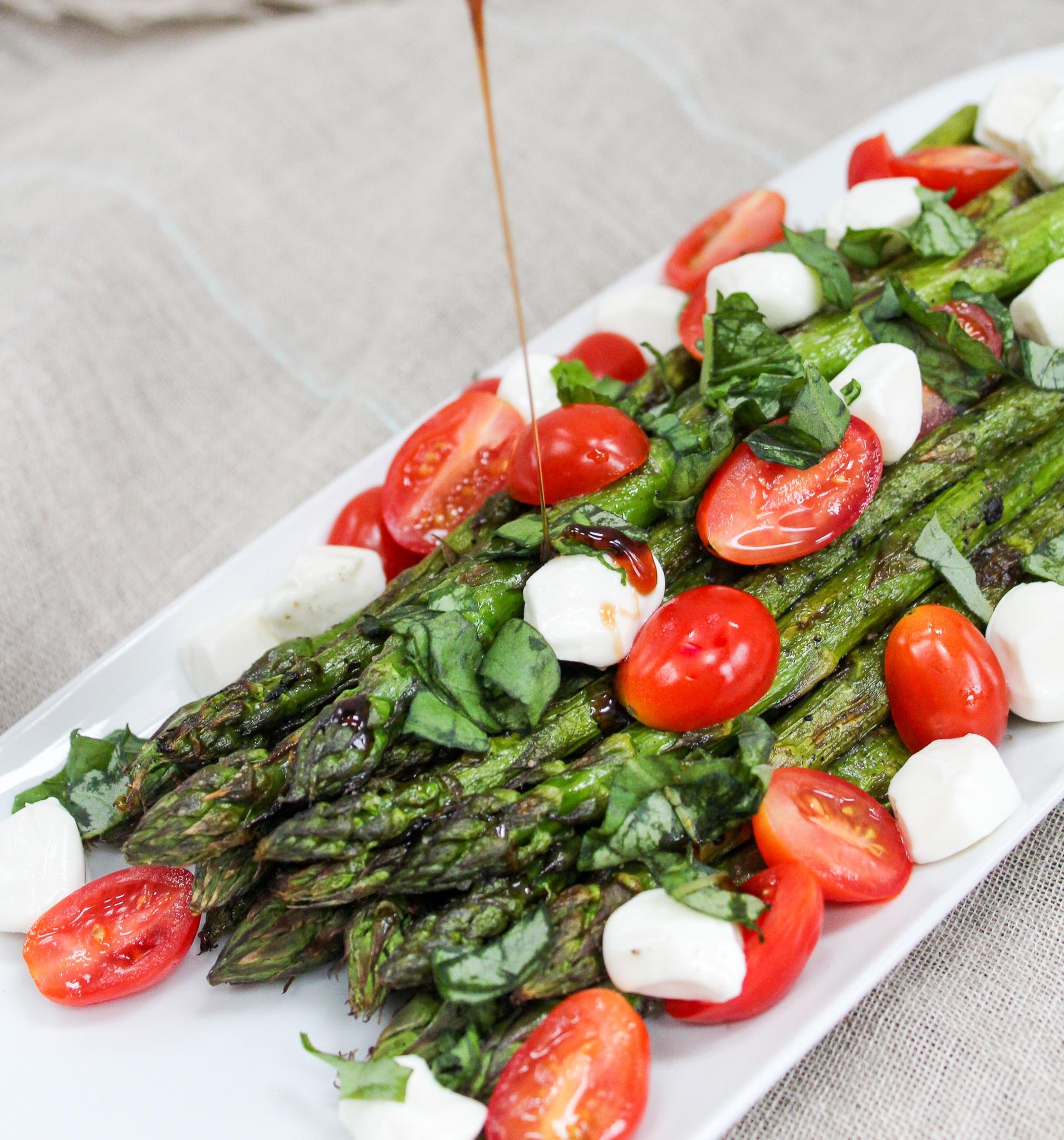 Grilled Asparagus Caprese Salad process shot