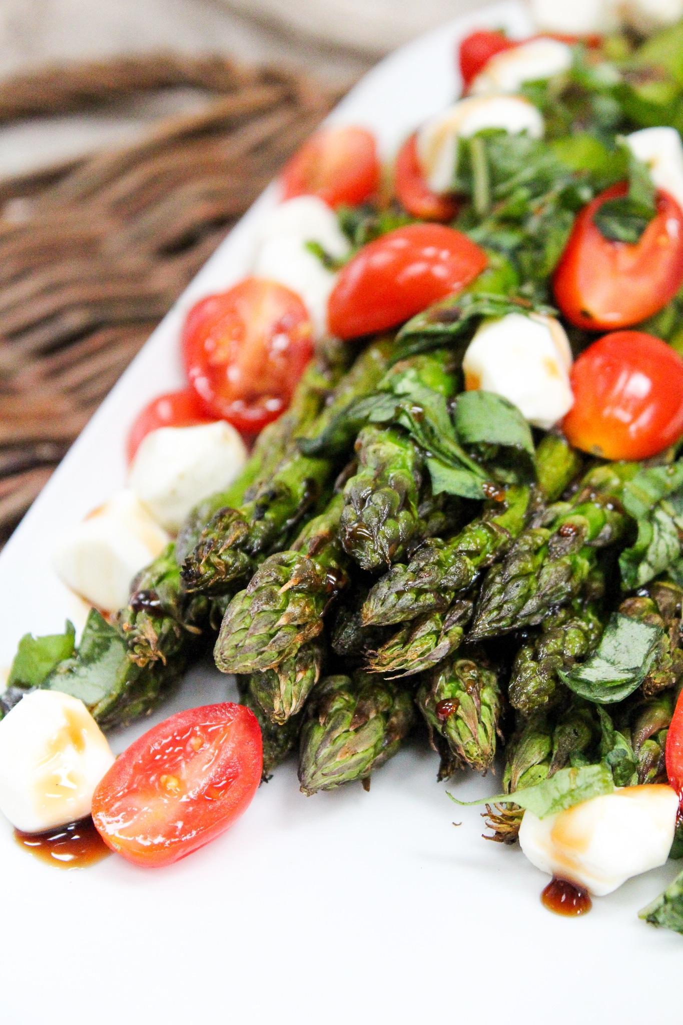 Grilled Asparagus Caprese Salad close shot