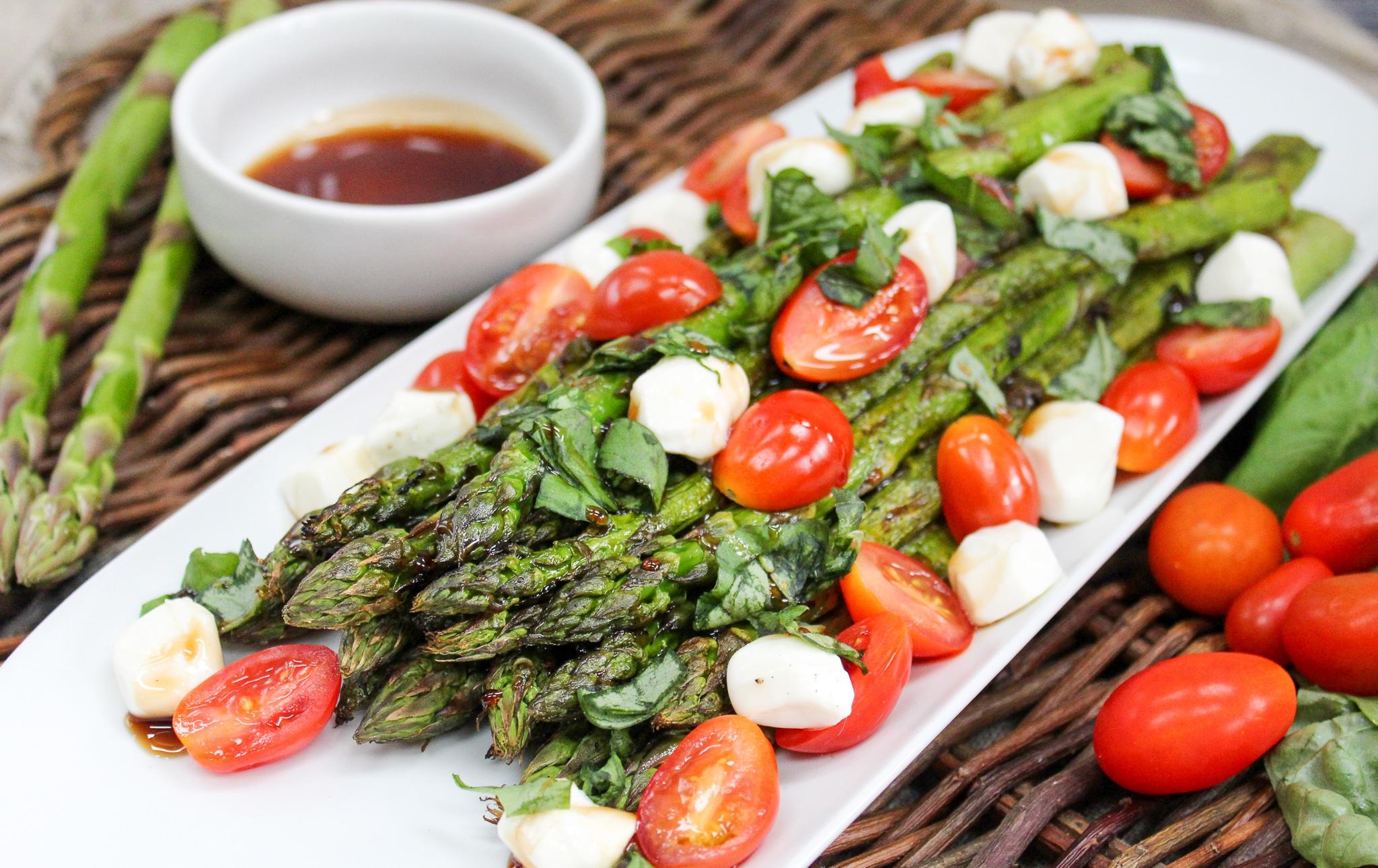 Grilled Asparagus Caprese Salad side shot