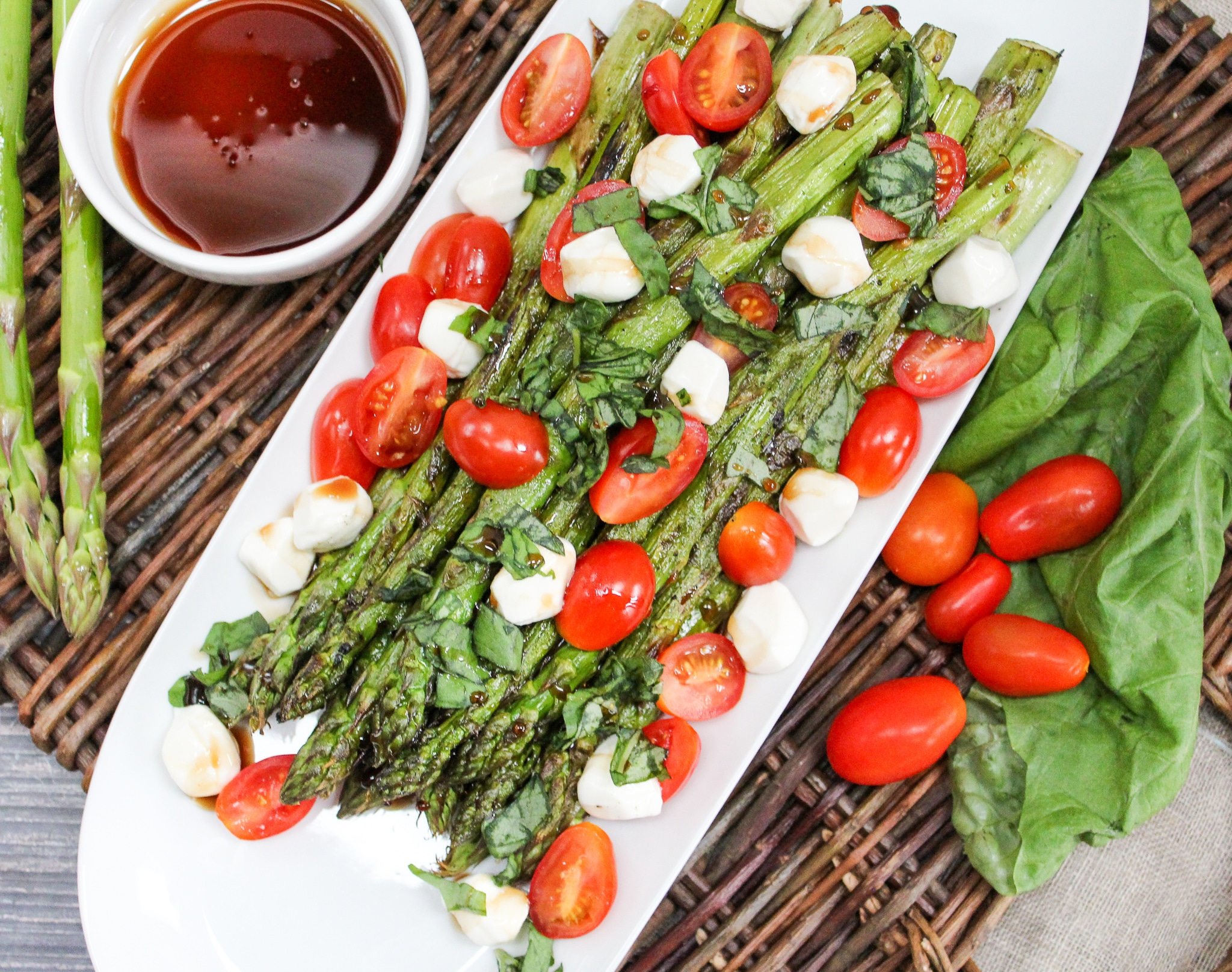 Grilled Asparagus Caprese Salad overhead shot