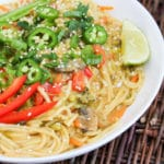 yellow curry noodle bowl in a bowl