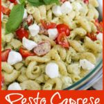 pasta salad in a glass bowl with title text fr Pinterest
