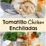 side view of shredded chicken enchiladas