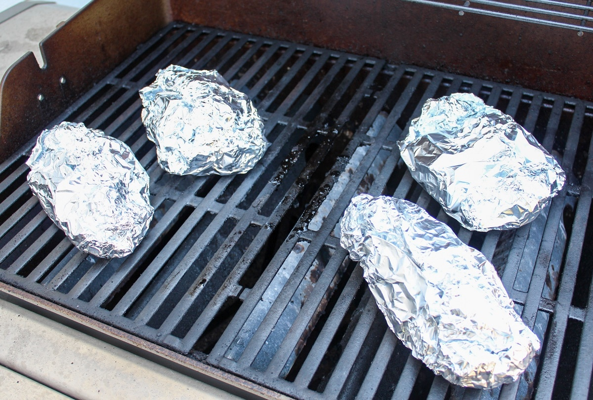 pork foil packets on the grill