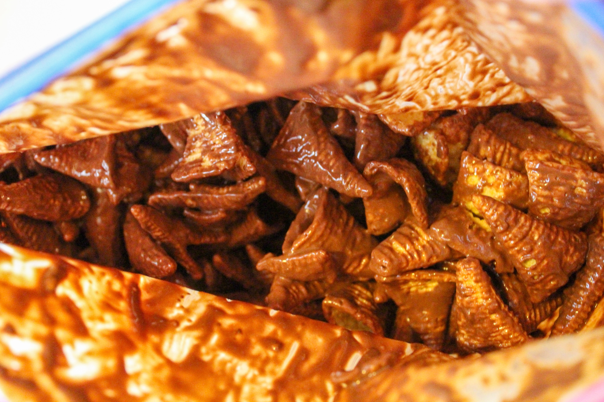 bugles with chocolate in a bag