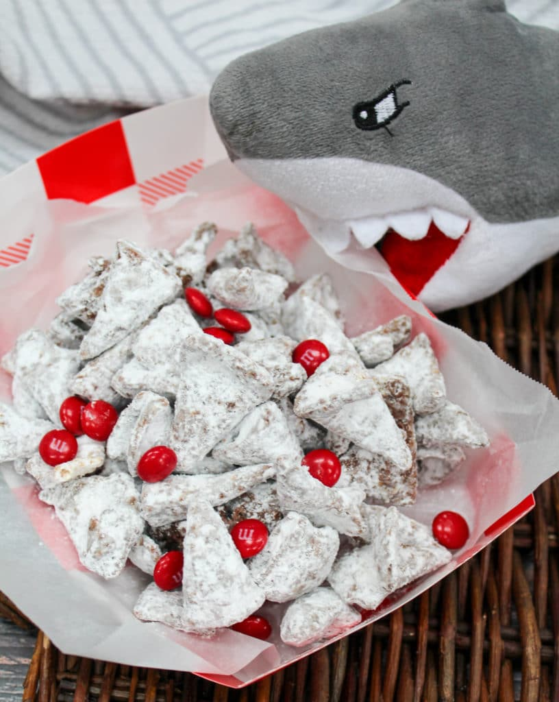 shark teeth mix made with bugles and red chocolate candies
