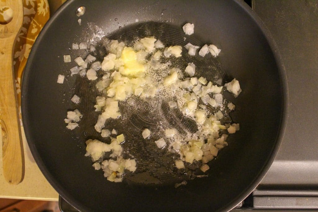 risotto cooking in a pan