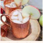 apple cider mule in a copper mug with an apple slice as a garnish