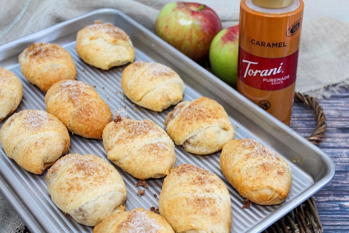 caramel apple pie bomb on baking sheet