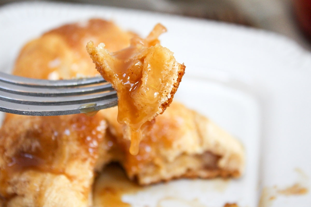 caramel apple pie bomb on a fork