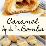 caramel apple pie bomb halved