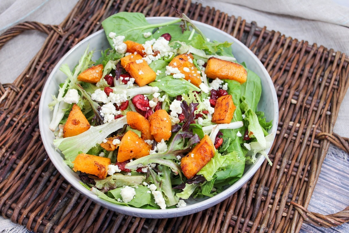 salad with squash, blue cheese, and cranberries