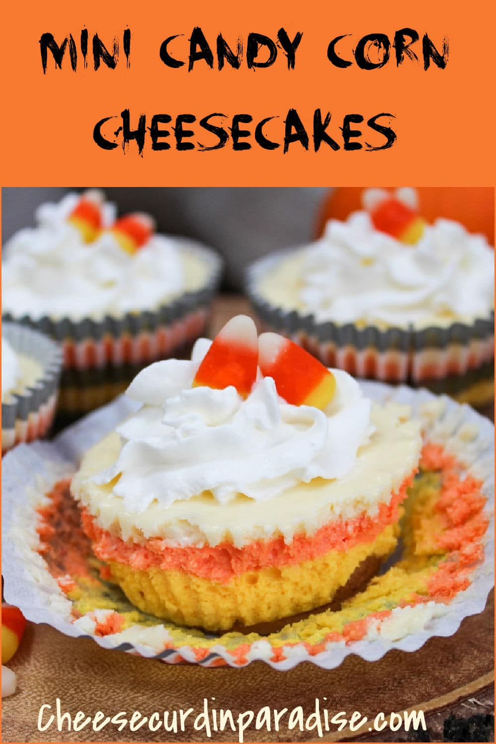 cheesecake with wrapper off and showing yellow orange and white colors