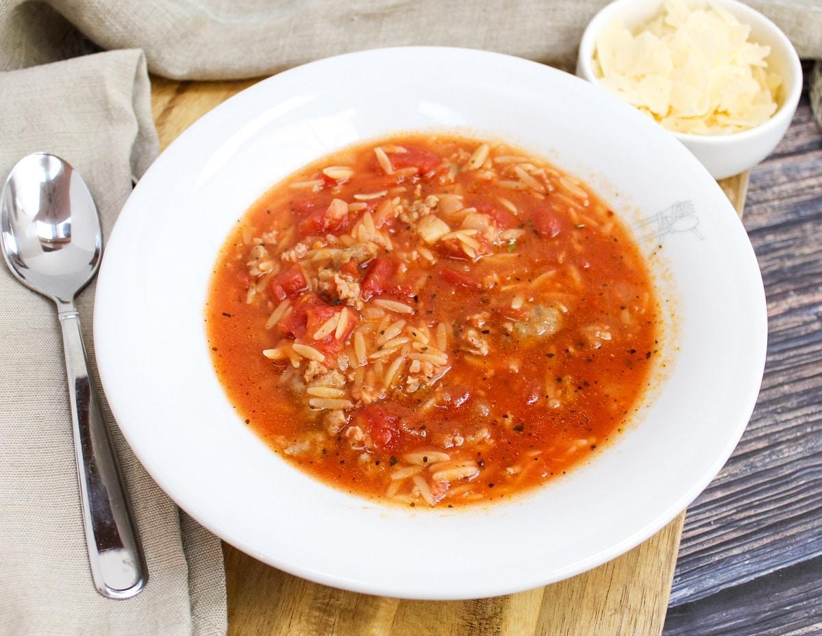 soup in a white bowl