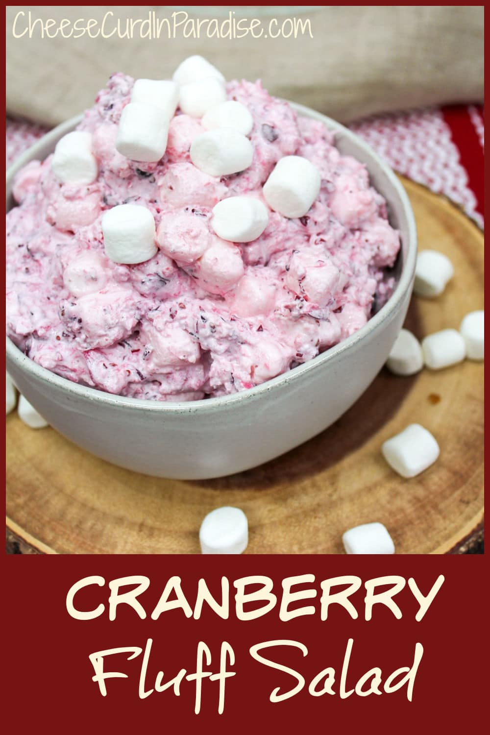 cranberry fluff salad in a bowl