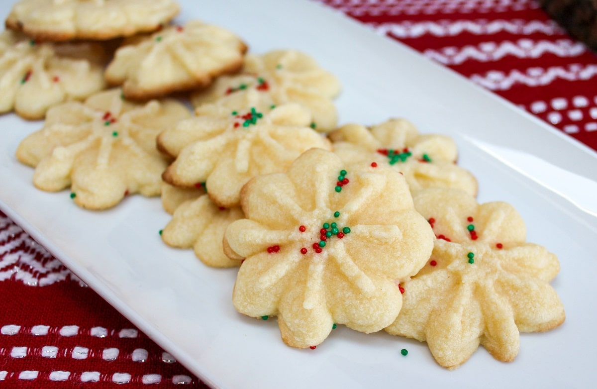 spritz cookies on a plate