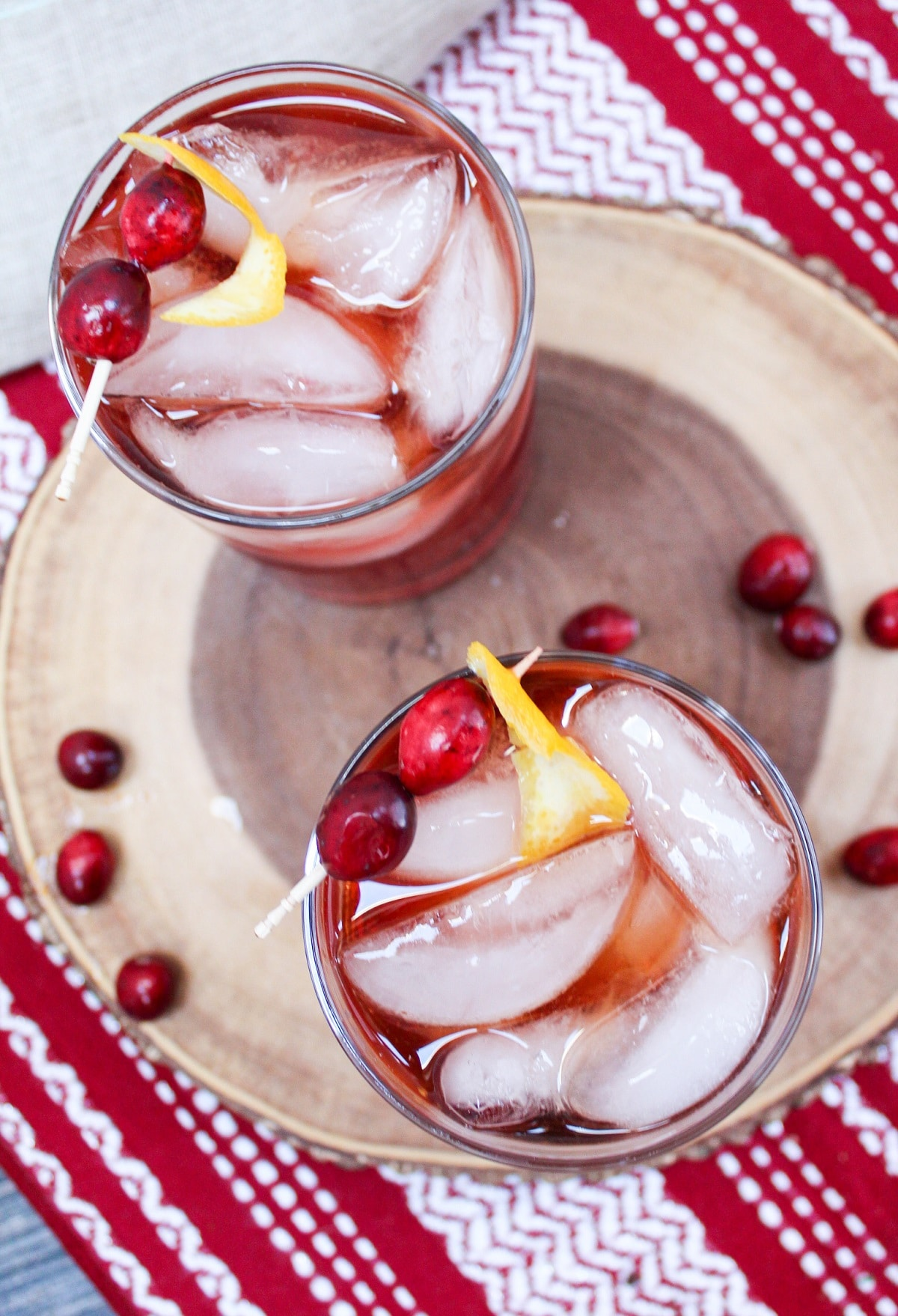 overhead photo of cranberry old fashion
