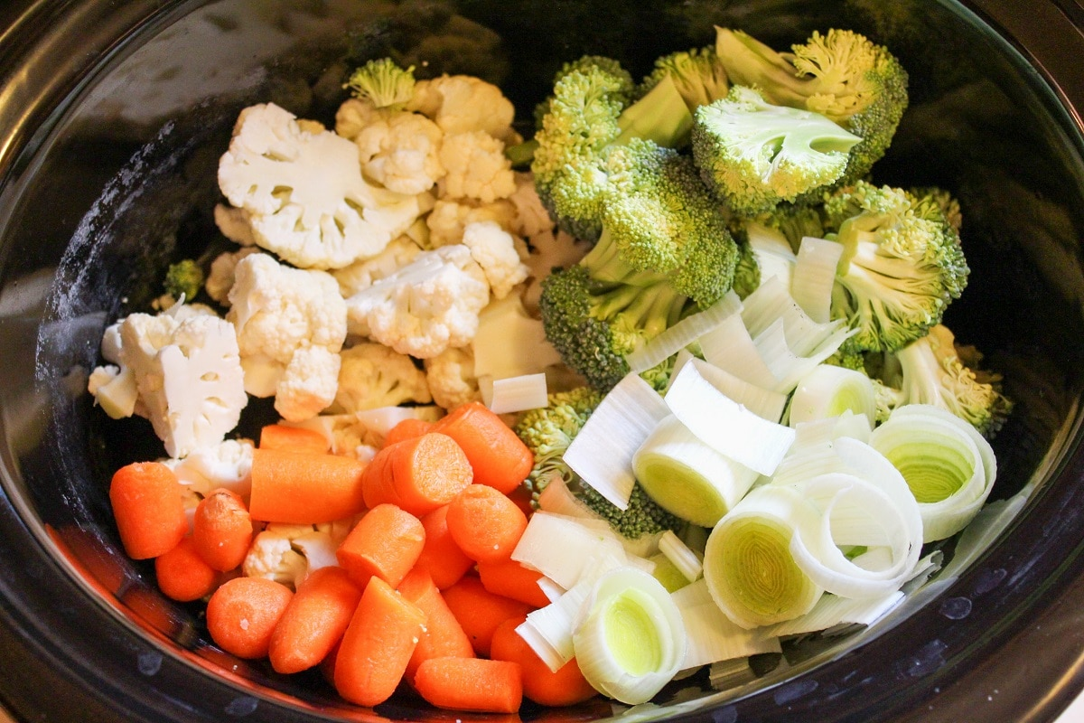 raw vegetables in the slow cooker