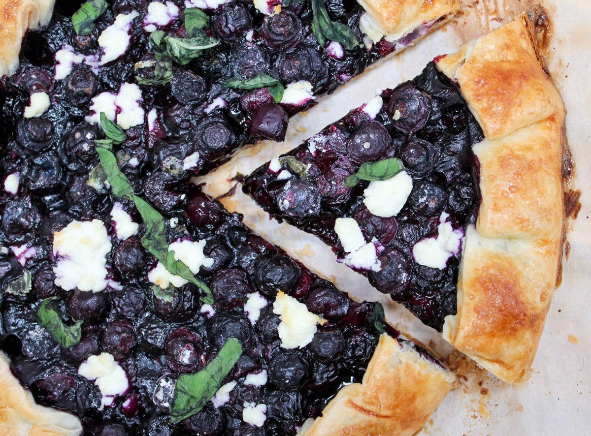 blueberry galette cut slice