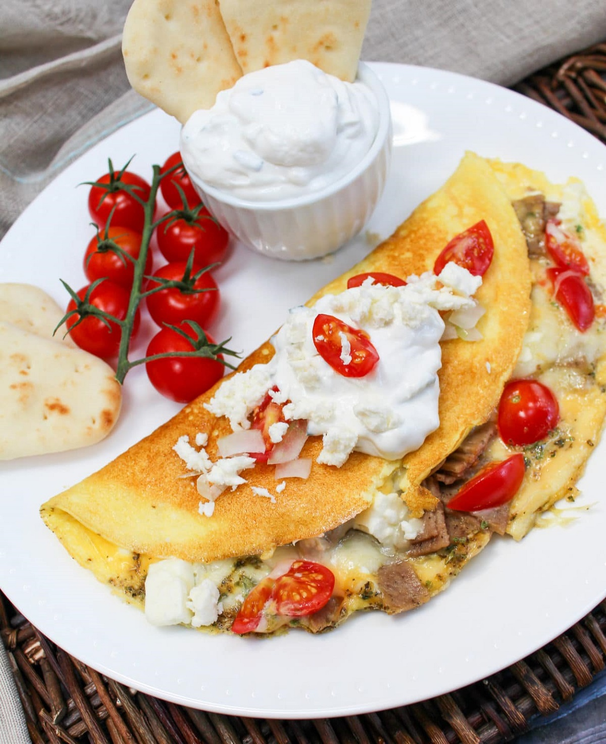 gyro omelette on a plate