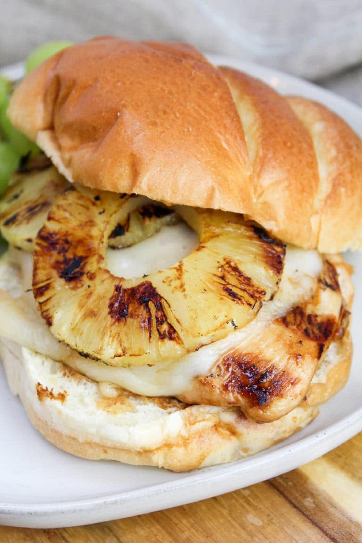Hawaiian chicken sandwich on a plate