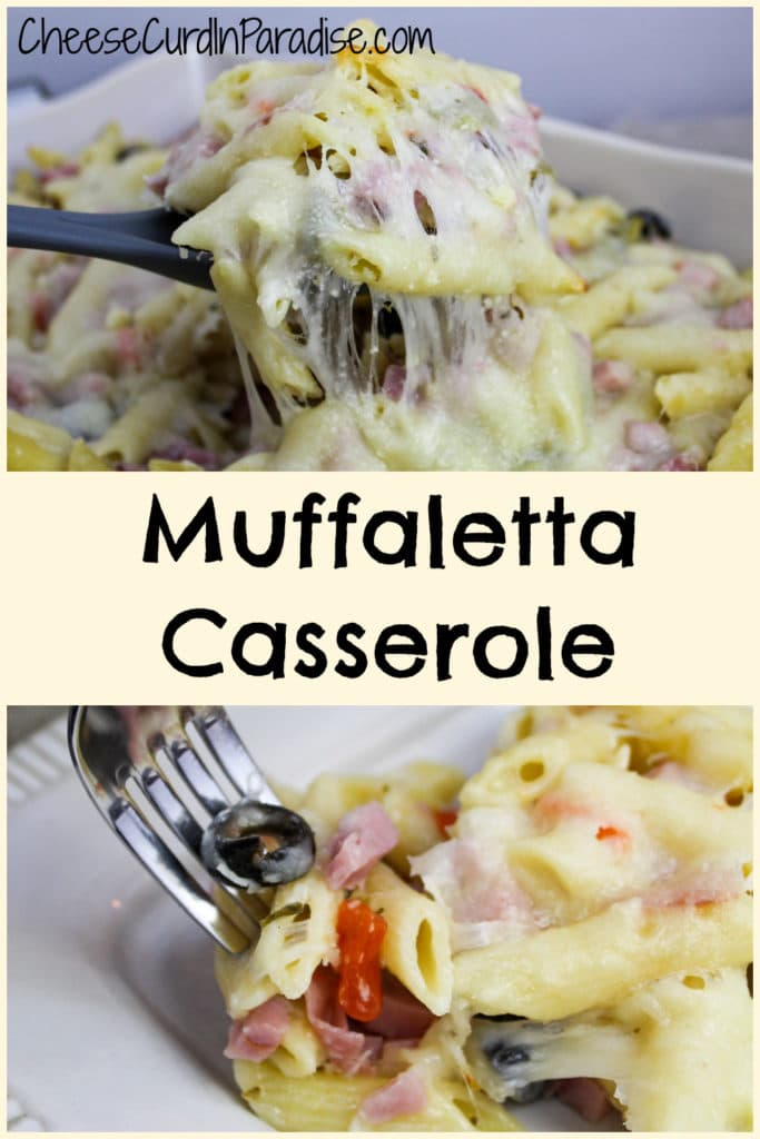muffaletta casserole scooped from baking dish