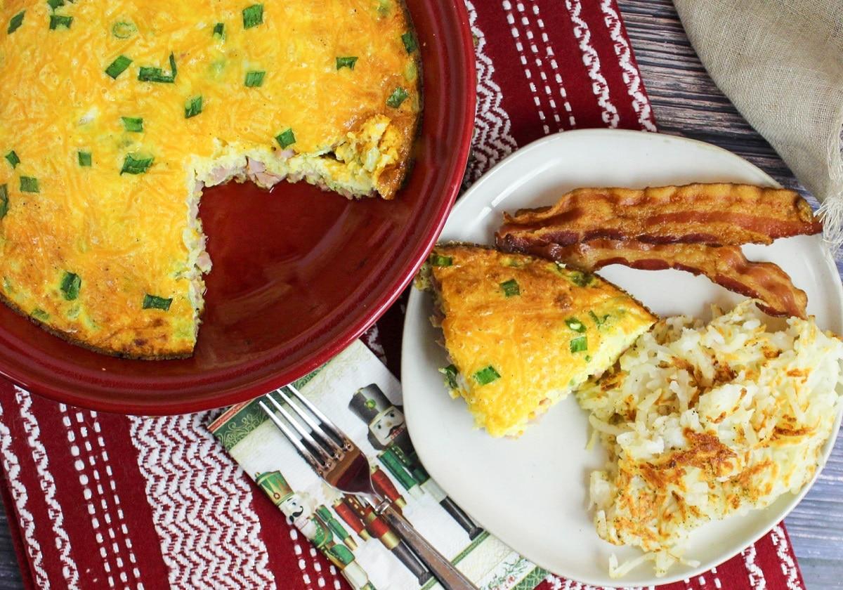 overhead photo of baked denver omelette