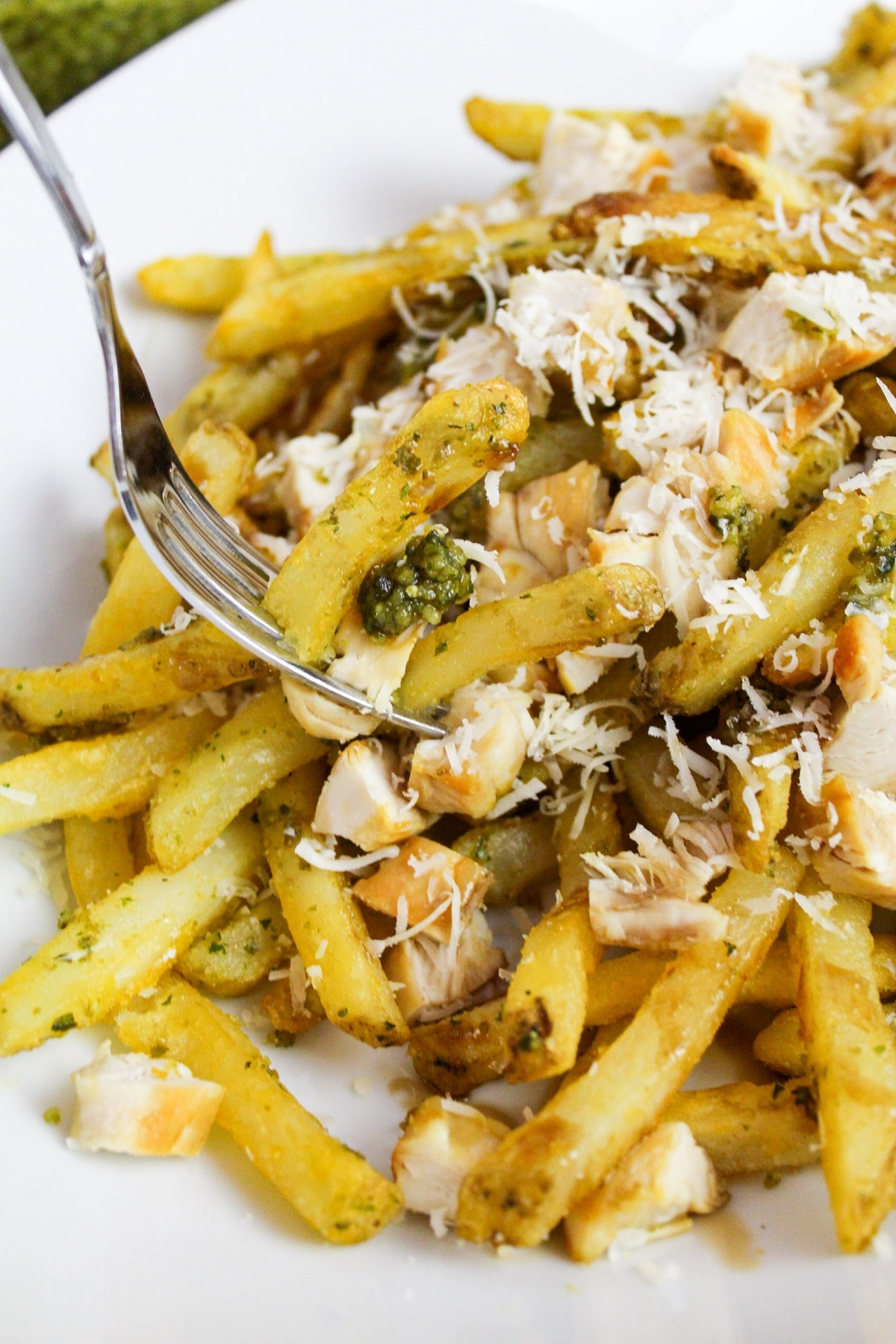 Pesto Chicken Fries on fork
