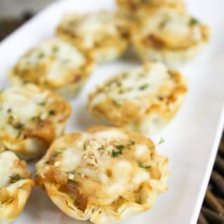 french onion tartelettes on a plate