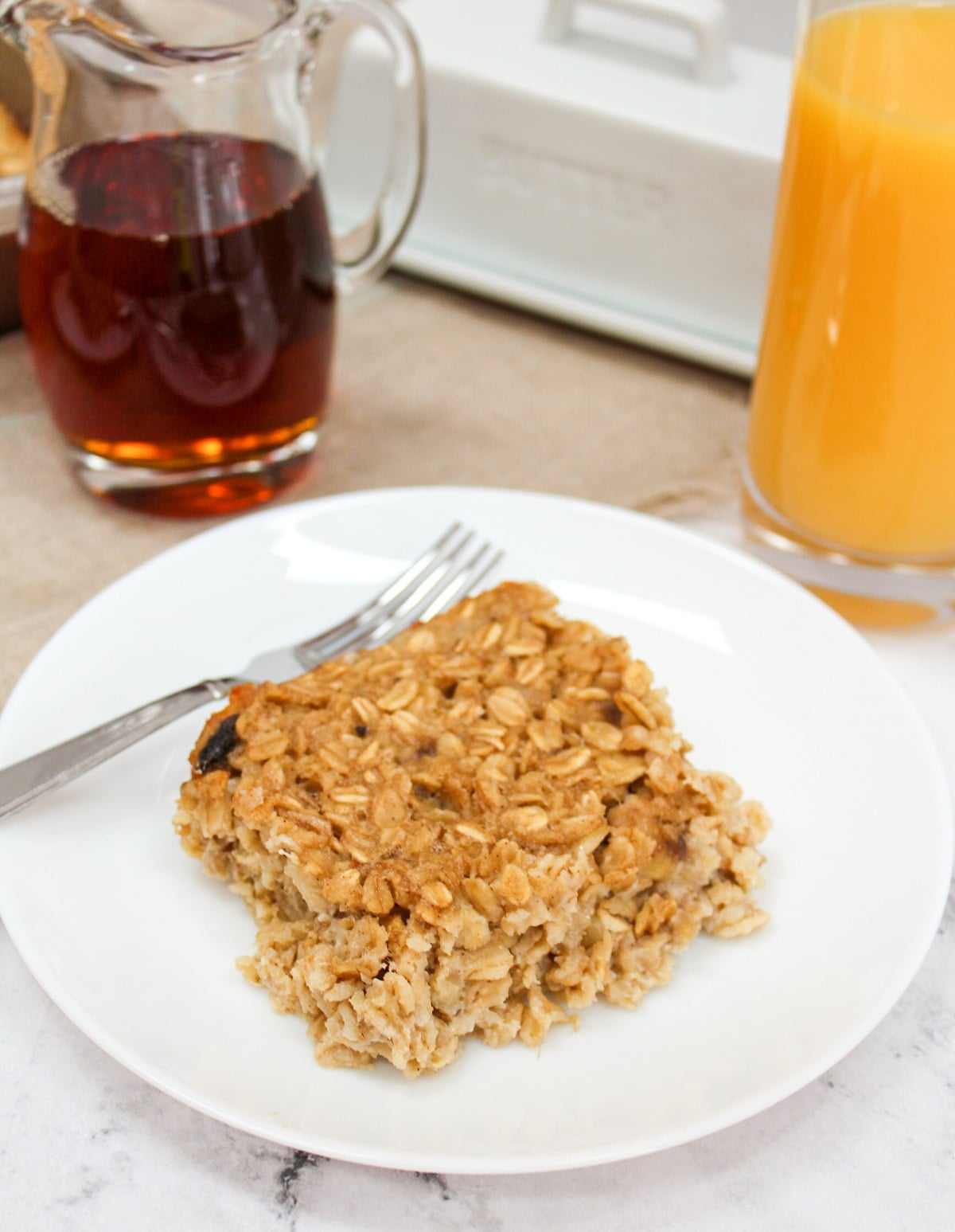 plated oatmeal with fork