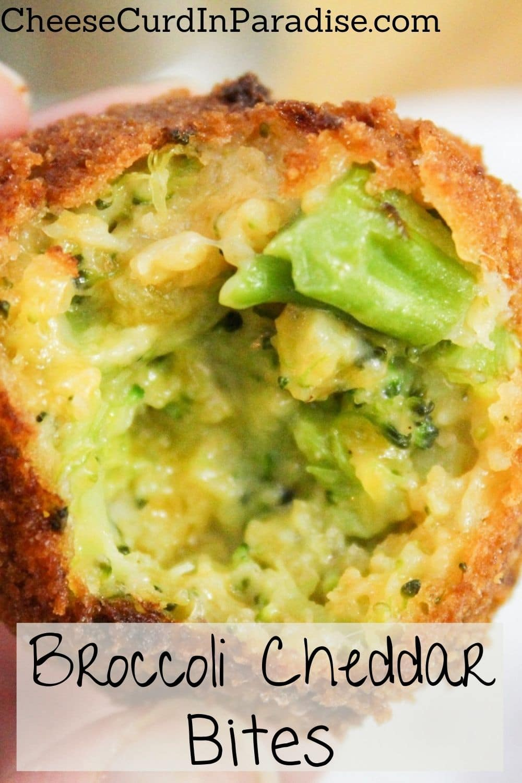 broccoli cheddar bite with bite taken