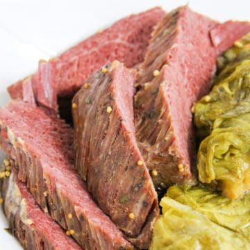 sliced corned beef with cabbage