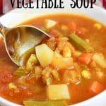 veggie soup in white bowl