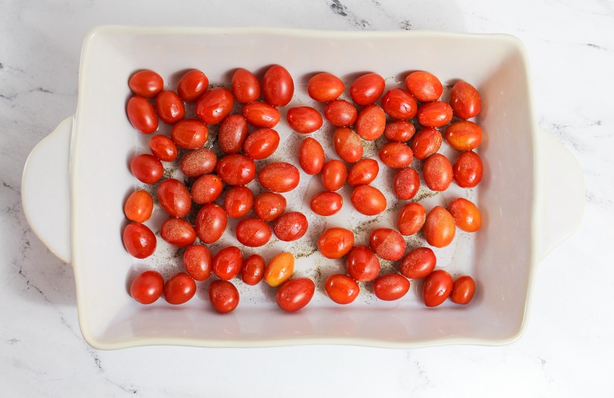 tomatoes in a dish with oil