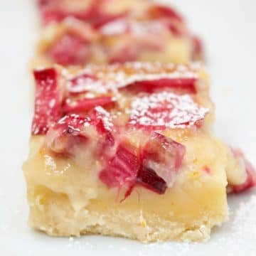 citrus rhubarb custard bars sliced and plated