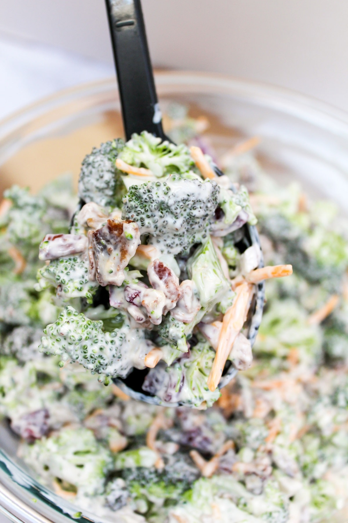 broccoli salad scooped from bowl