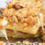 salted nut roll bar scooped from pan